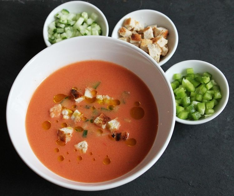 The king of Spanish summer dishes has to be gazpacho. The best summer seasonal vegetables, blended into a silky soup or smoothie See the recipes here.