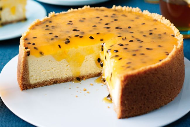 No Bake cheesecake with passion fruit topping - delicious and so attractive