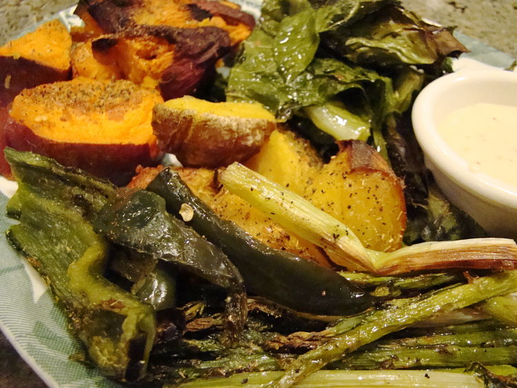 Roasted vegetables work when the various types are baked on separate pans and then combined at the last minute