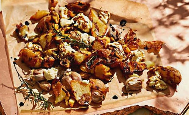 Delicious Pan Fried Potatoes with Garlic, Rosemary and Stracchino cheese is a delightful side dish for a barbecue or roast