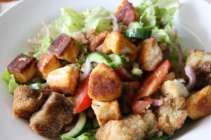 Delicious Tuscan Panzanella Salad made with bread, tomatoes, basil and a dressing