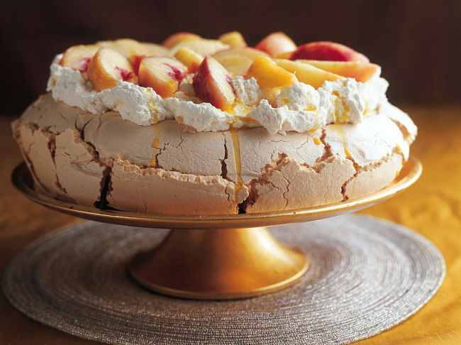 Delicious pavlova with passionfruit filling