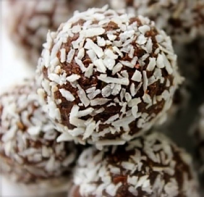 Protein balls tossed in coconut. Delicious way to boost your protein intake