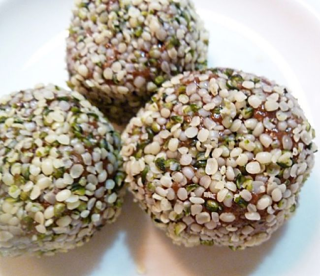 The nutrients in protein balls can be boosted by rolling them in a variety of seeds.