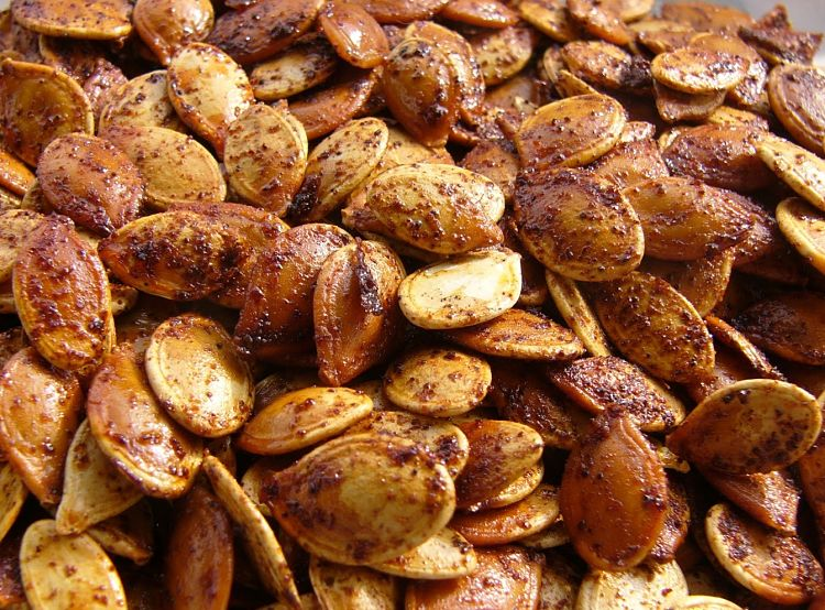 Spicy roasted pumpkins seeds are a great side dish for parties and with drinks before supper.