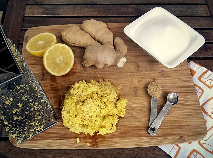 Ingredients for homemade ginger beer using dried yeast