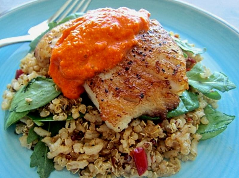 Grilled fish with Romesco sauce - what a delight
