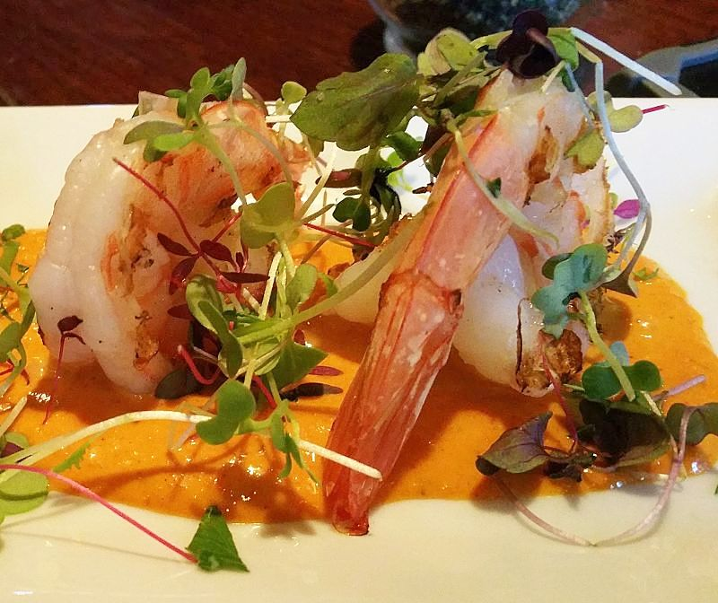 Shrimp with Romesco sauce - delightful dish