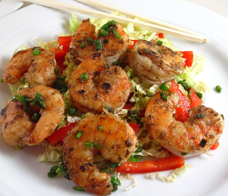 Salt and pepper peeled prawns are delicious and are an ideal party food