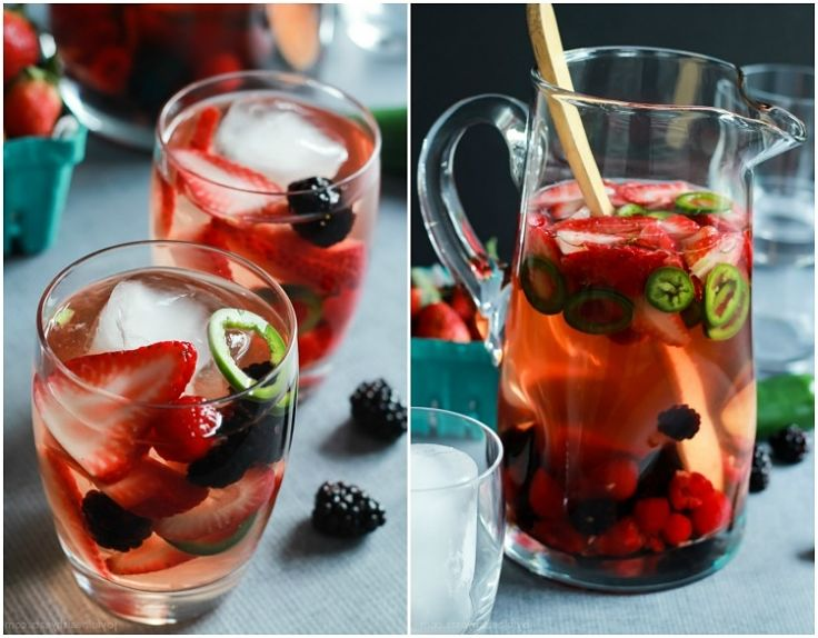 Strawberry Jalapeno White Sangria Recipe - a summer delight - See more wonderful recipes here