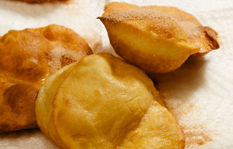 Sopapilla 'pillows' are hollow and the cavity can be filled with cheese, honey and various sauces