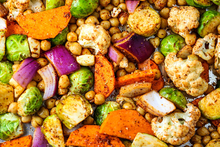 You can cook a variety of vegetables and chick peas on a single pan sheet for a delightful meal or snack