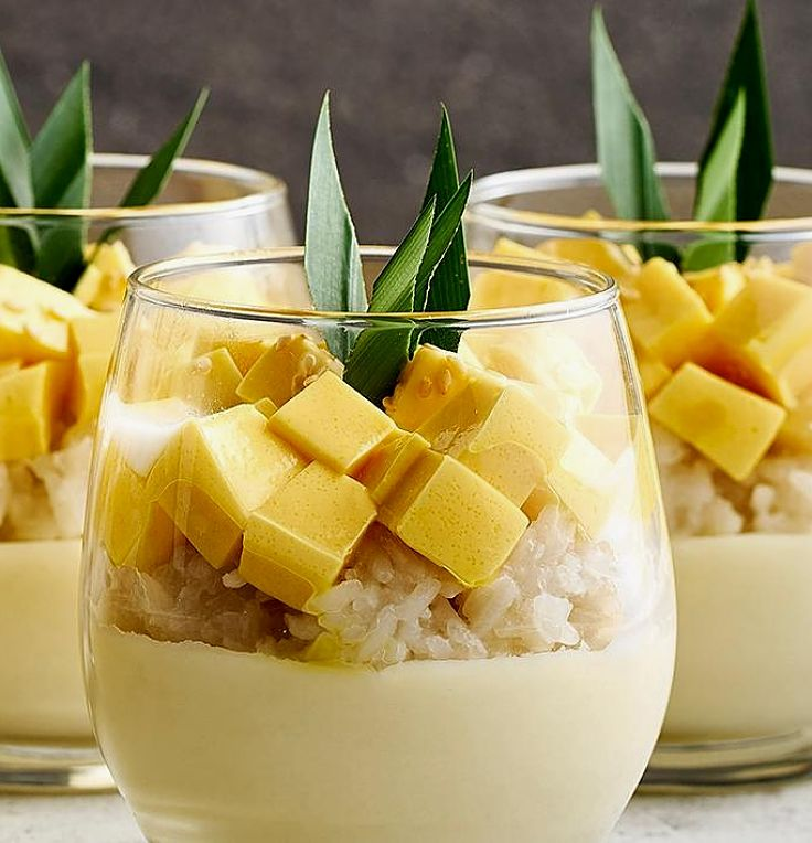 Mango Sticky Rice served in individual glasses - delicious and so appealing