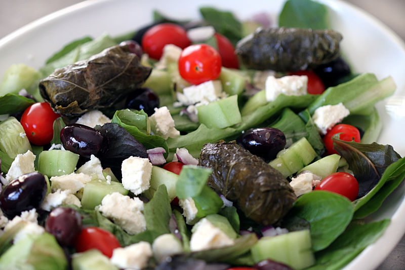 tuffed grape leaves are a wonderful enhancement for a Greek salad