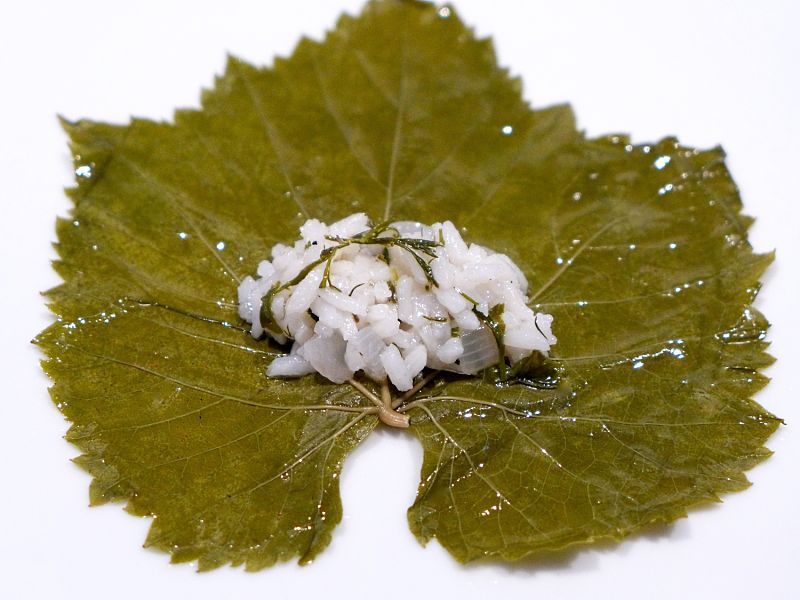 Start with a large grape leaf lightly rubbed with olive oil. Place the filling in the heart of the leaf and roll tightly.