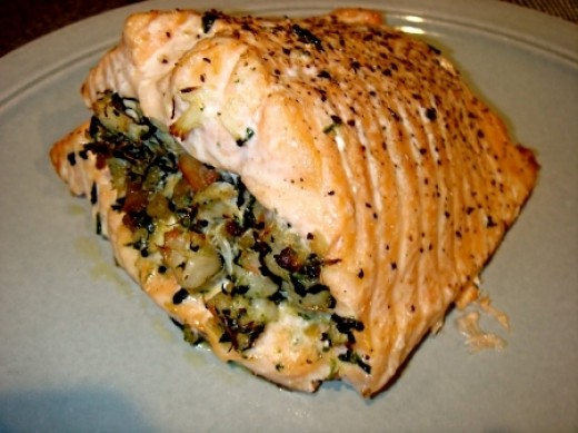 Delightful Salmon stuffed with walnuts and herbs. See the recipe and also one for a spicy tahini sauce to go with it