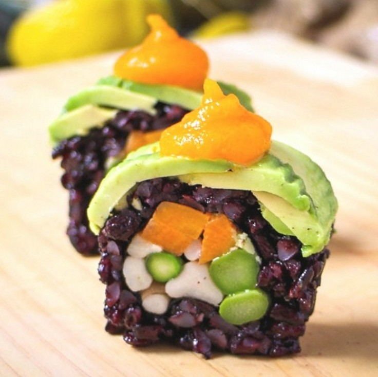 Color, texture and taste are all showcased when you make homemade vegetarian sushi rolls