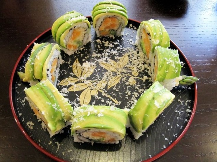 Vegetarian shushi rolls are an ideal party food. Use your imagination to create delighful presentations