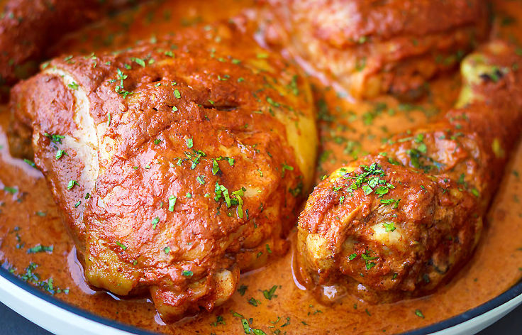 Baked tandoori chicken - delightful. You can also cook the chicken pieces marinated in tandoori paste on the grill or barbecue.