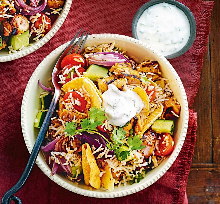 Tandoori grilled chicken and rice salad