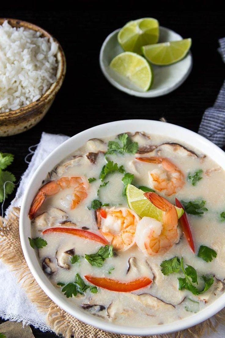 Thai Tom kha soup with shrimp - a delightful variation from the traditional chicken and coconut milk version