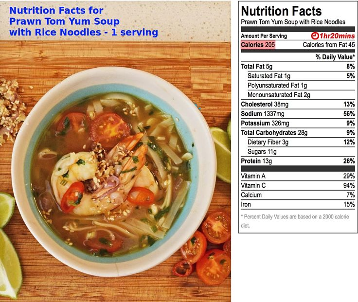 Nutrition facts for Homemade Prawn Tom Yum Soup with noodles - 1 serving (single bowl)