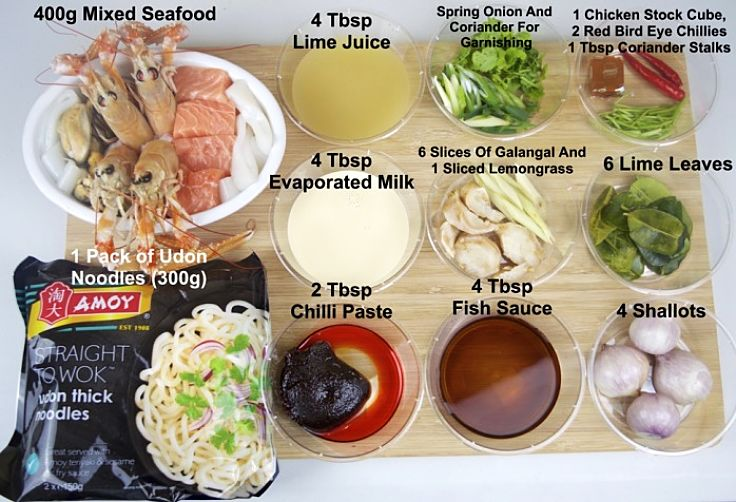Ingredients for tom yum soup ingredients with udon noodles. Try these recipes