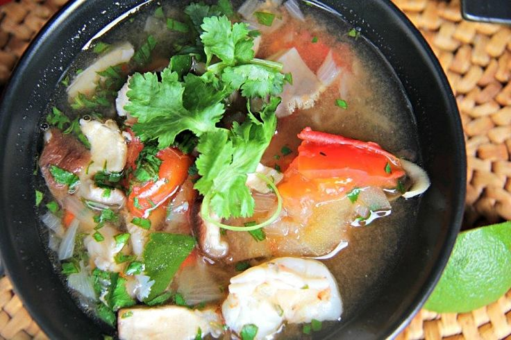 Tom Yum soup with seafood is delicious and very healthy