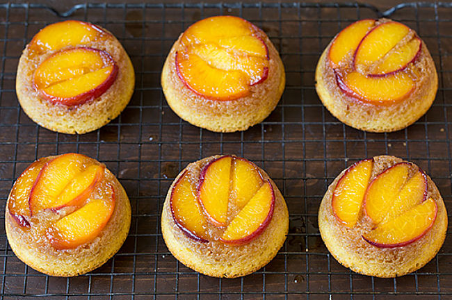 Upside down muffins with peach slices and delicious and very attractive