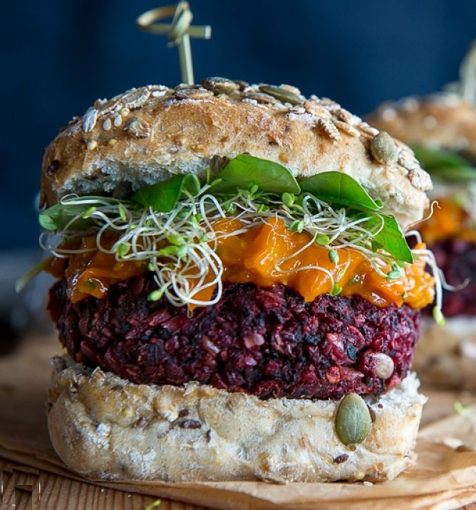 The color of beetroot really ads the the appeal of this veggie burger