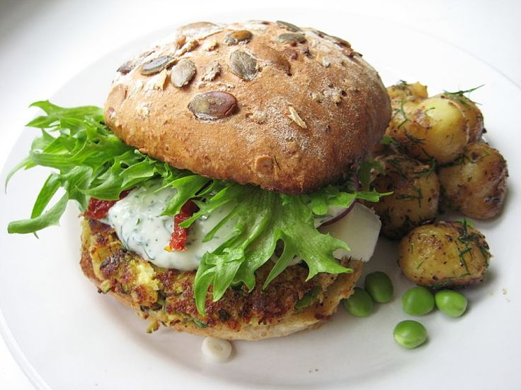 Lovely veggie burger with salad and mayonnaise - see the recipes in this article